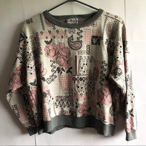 C. P. Sport 80s VINTAGE Pink Grey Paisley Sweater
